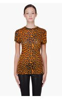 Christopher Kane Orange Leopard Print Tshirt