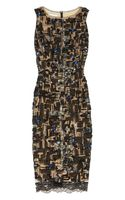 Oscar de la Renta Embellished Tulleoverlay Silk Dress