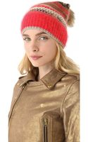Juicy Couture Beanie with Faux Fur Pom Pom - Lyst