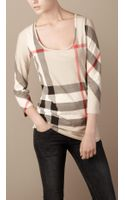 Burberry Scoop Neck Check T-shirt - Lyst