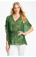 Michael by Michael Kors Lace Up Flutter Blouse - Lyst
