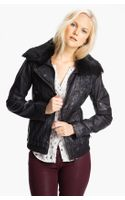 Bernardo Leather Scuba Jacket with Genuine Rabbit Fur