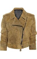 Burberry Prorsum Distressed Suede Biker Jacket - Lyst
