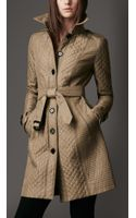 Burberry Long Quilted Trench Coat - Lyst