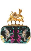 Alexander McQueen Embroidered Satin Knucklebox Clutch