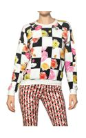 MSGM Flower Checked Cotton Fleece Sweatshirt