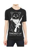 Philipp Plein Terrorist Cat Cotton Jersey T-Shirt