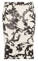 Moschino Cheap & Chic Printed Crepe Pencil Skirt