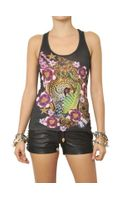 Philipp Plein Crystals Printed Cotton Jersey Tank Top