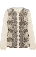 Temperley London Mia Lace and Silk Chiffon Blouse