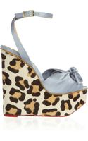 Charlotte Olympia Miranda Satin and Calf Hair Wedge Sandals - Lyst