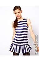 Asos Petite Exclusive Stripe Dress with Drop Waist - Lyst