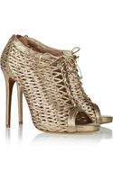 Tabitha Simmons Faiza Metallic Woven Leather Ankle Boots