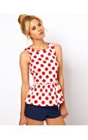 ASOS Collection Asos Sleeveless Top with Peplum in Spot Print