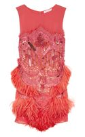 Matthew Williamson Feather and Bead Embellished Silk Chiffon Dress - Lyst