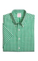 Brooks Brothers Supima Cotton Non Iron Regular Fit Short Sleeve Gingham Sport Shirt