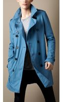 Burberry Brit Mid Length Cotton Gabardine Trench Coat - Lyst