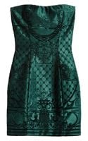 Balmain Brocadeeffect Embossed Velvet Mini Dress