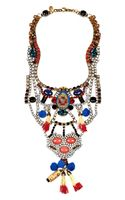 Erickson Beamon Tribal Patchwork Goldplated Swarovski Crystal Bib Necklace