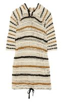 Etoile Isabel Marant Clay Hooded Striped Openknit Cotton Dress