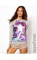 Asos Petite Exclusive Sweat Top with Cosmic Geo Panel - Lyst