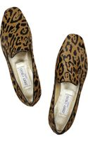 Jimmy Choo Wheel Jaguarprint Calf Hair Slippers