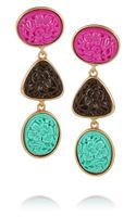 Oscar de la Renta Goldplated Carved Cabochon Clip Earrings