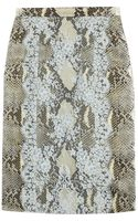 Erdem Ari Python Print Satin and Lace Pencil Skirt