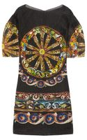 Dolce & Gabbana Printed Seer-sucker Silk blend Organza Dress - Lyst