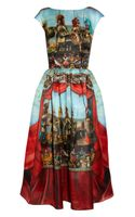 Dolce & Gabbana Printed Silk-Organza Midi Dress