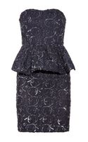 Alice + Olivia Elise Sequined Lace Peplum Dress - Lyst