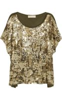 Michael by Michael Kors Camo Sequined Jersey T-Shirt - Lyst