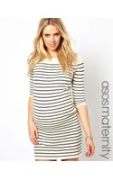 Asos  Knitted Dress with Breton Stripe and Three Quarter Sleeves