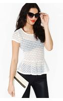 Nasty Gal Scallop Lace Peplum Top