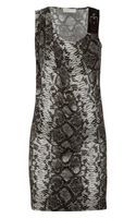 Michael by Michael Kors Snake Print Satin Jersey Dress - Lyst