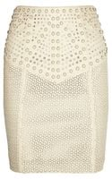 Catherine Malandrino Studded Cut Out Leather Skirt