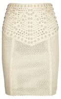 Catherine Malandrino Studded Cut Out Leather Skirt - Lyst