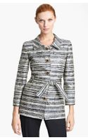 Oscar de la Renta Belted Metallic Tweed Jacket
