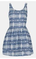 Topshop Moto Lace Up Tribal Print Denim Dress - Lyst