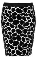 Topshop Flocked Giraffe Print Pencil Skirt - Lyst
