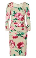 Dolce & Gabbana Floral Print Stretchsilk Dress - Lyst