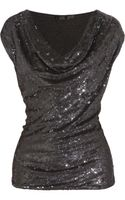 Donna Karan New York Icons Sequined Silk and Stretch jersey Top