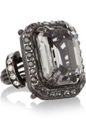 Lanvin Gunmetaltone Glass Crystal Ring - Lyst