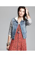 Free People Jacket Denim and Knit Hooded - Lyst
