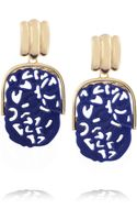 Kenneth Jay Lane Goldplated Lapis Clip Earrings