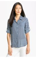 Sandra Ingrish Polka Dot Roll Sleeve Blouse
