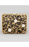 Alexander McQueen Metallic Floral Rectangle Box Clutch Blackgold