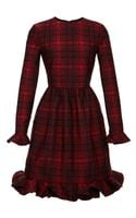 Valentino Plaid Long Sleeve Dress with Voulant Cuff and Hem