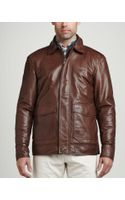 Peter Millar Maverick Leather Bomber Jacket Chocolate - Lyst