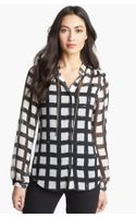 Michael by Michael Kors Chain Trim Check Print Blouse - Lyst